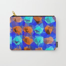 geometric polygon abstract pattern in blue and brown Carry-All Pouch