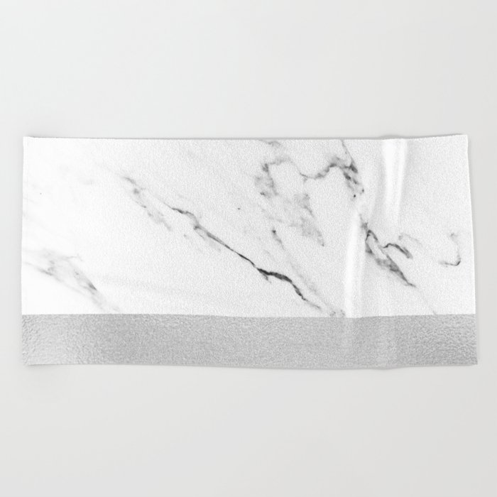 White Marble with Black and Grey Silver Stripe Beach Towel