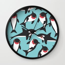 Cartoon grampus orca, Kawaii whale, sea wolf Wall Clock