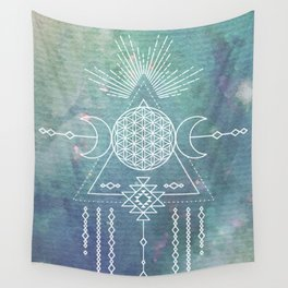 Mandala Flower of Life in Turquoise Stars Wall Tapestry