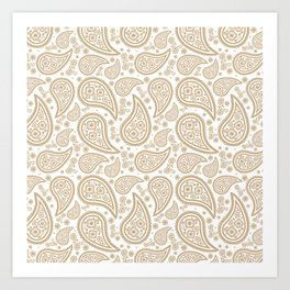 Paisley (Tan & White Pattern) Art Print