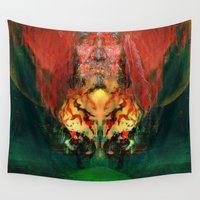 tigers Wall Tapestries featuring The shaman in both tigers by Ganech joe