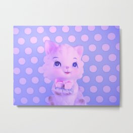 Polka dot kitty  Metal Print