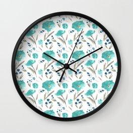 Farmhouse Chic Blue Floral Artwork Wall Clock
