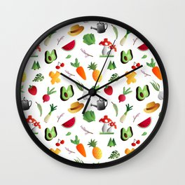 Fruits and vegetables - veggies design to healthy people Wall Clock