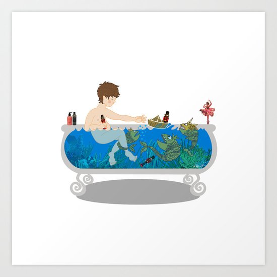 Child's sea adventure Art Print