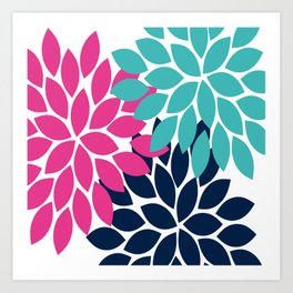 Bold Colorful Hot Pink Turquoise Navy Dahlia Flower Burst Petals Art Print