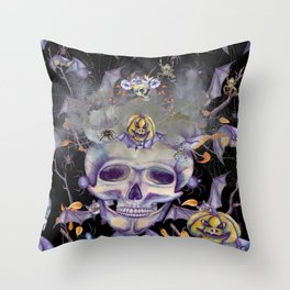 Skully the Skeleton and Friends Throw Pillow