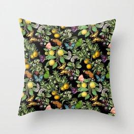Citruses and Butterflies black Throw Pillow