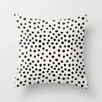 Throw Pillows featuring Preppy brushstroke free polka dots black and white spots dots dalmation animal spots design minimal by CharlotteWinter