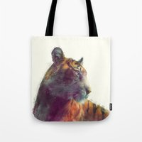 monika strigel Tote Bags featuring Tiger // Solace by Amy Hamilton