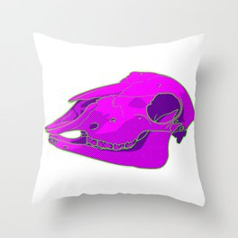 Neon Sheep Skull Throw Pillow