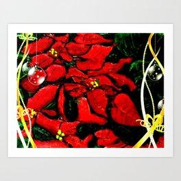 Poinsettias and Decos Art Print