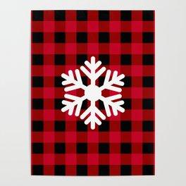 Red Buffalo Check - snowflake - more colors Poster