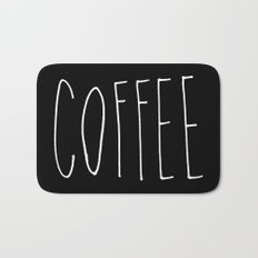Coffee - Black and white hand lettering Bath Mat