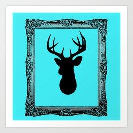 Deer Head - Fancy Border Blue Art Print
