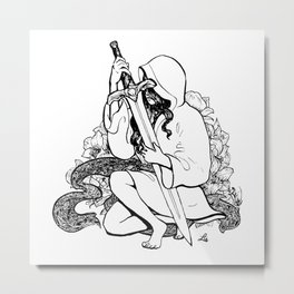 Sword/shy (inktober 6 & 7) Metal Print