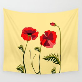 Adorable Red Poppies Unfold Wall Tapestry