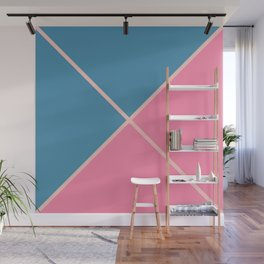 Envelope Geometric Shape Dark Moderate Blue with Light Pink and Very Soft Red Wall Mural