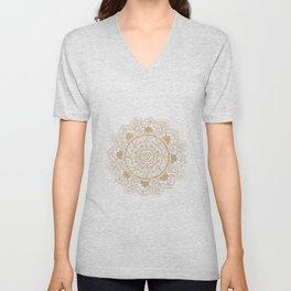Elegant Gold Eye Sun Moon Mandala Design Unisex V-Neck