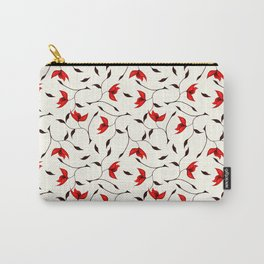 Strange Red Flowers Pattern Carry-All Pouch