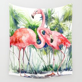 Flamingo Flamingos and Papyrus, flamingo lover pink green art Wall Tapestry