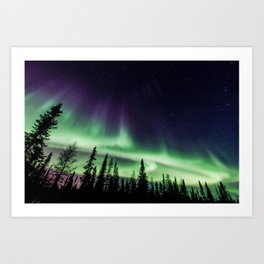 Aurora during geomagnetic storm in Yellowknife, Canada Art Print