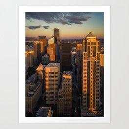 Downtown Seattle Sunset Art Print