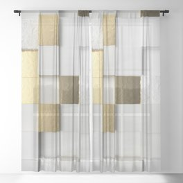 Elegant Cube wall 3D art- white and gold Sheer Curtain