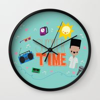 old school Wall Clocks featuring OLD SCHOOL!  by Claudia Ramos Designs