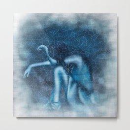 Blue Girl Tears Metal Print