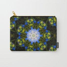 Kaleidoscopic Mandala Baby Blue Eyes Flower Carry-All Pouch