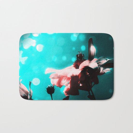 Aqua N Pink Retro Sunflower N Bee Bath Mat