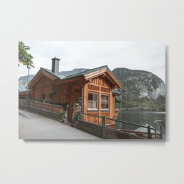 Hallstatt House | Europe Austria travel photography nature mountains lake view Metal Print