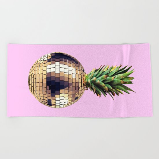 Ananas party (pineapple) Pink version Beach Towel