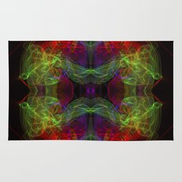 Abstract and symmetrical texture in the form of colorful smoke clouds. Rug