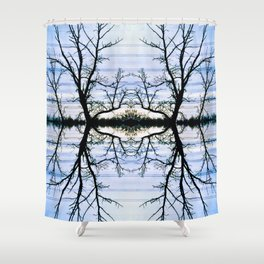 188 - Hydro wires and trees abstract design Shower Curtain