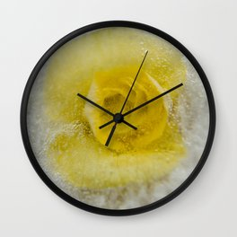 Yellow frozen flower Wall Clock