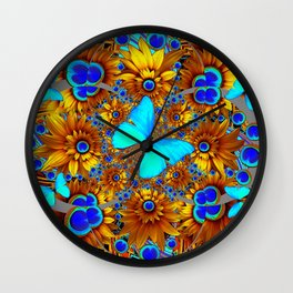 BLUE & GOLD ART DECO BUTTERFLIES & FLOWERS VIGNETTE Wall Clock