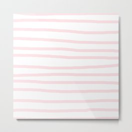 Simply Drawn Stripes in Pink Flamingo Metal Print