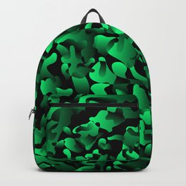 Explosive bright on color from spots and splashes of green paints. Backpack