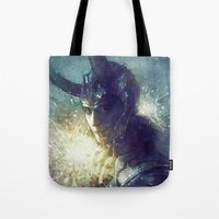 king Tote Bags featuring King by Anna Dittmann
