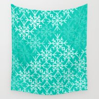 snowflake Wall Tapestries featuring SNOWFLAKE by Dash of noir