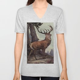 Vintage Red Deer Painting (1909) Unisex V-Neck