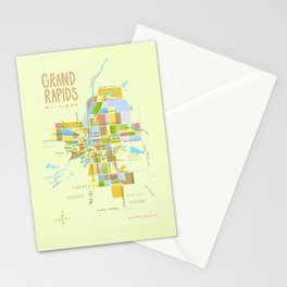 Illustrated Grand Rapids Map Stationery Cards