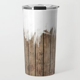 White Abstract Paint on Brown Rustic Striped Wood Travel Mug