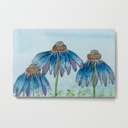 Enchanted Blue Floral Metal Print
