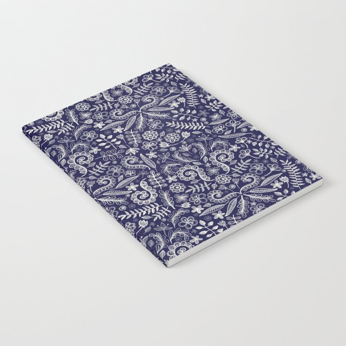 Chalkboard Floral Doodle Pattern in Navy & Cream Notebook