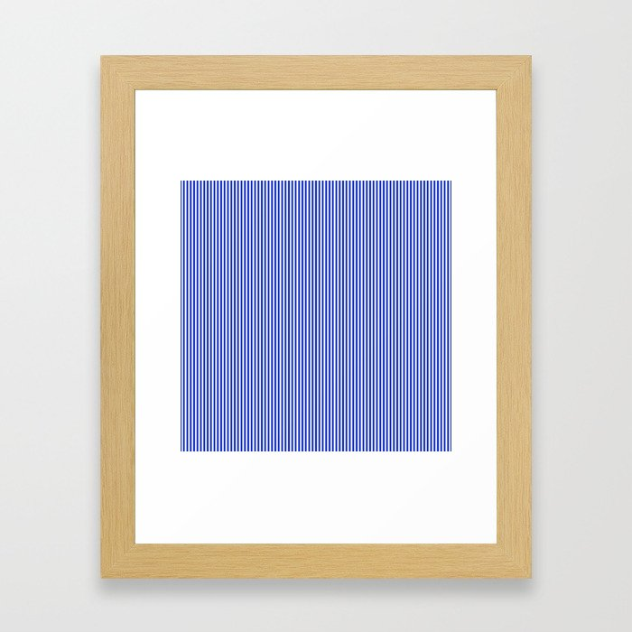 Cobalt Blue and White Vertical Nautical Sailor Stripe Framed Art Print
