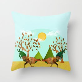 Cockfight Throw Pillow